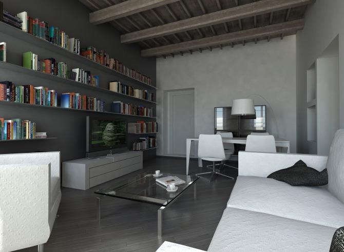 rendering del soggiorno - controcampo