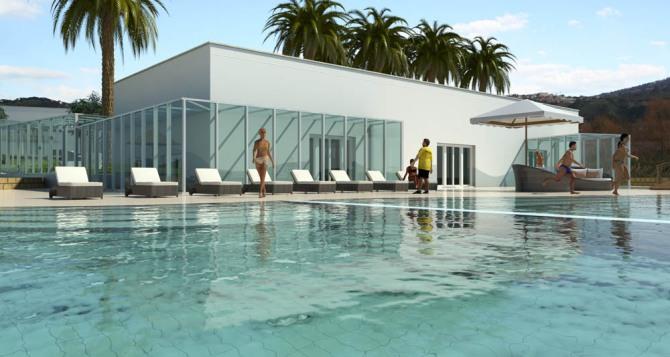 la piscina di acqua termale